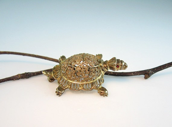 Alice Caviness Sterling Vermeil Turtle Pin Gold Filigree Figural 1960s Jewelry