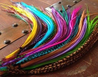 Bonded Feather Hair Extension Pick 6 Natural Colorful Grizzly Custom Hair Feathers Long Feather Extensions Plumes Raver Accessories for Hair