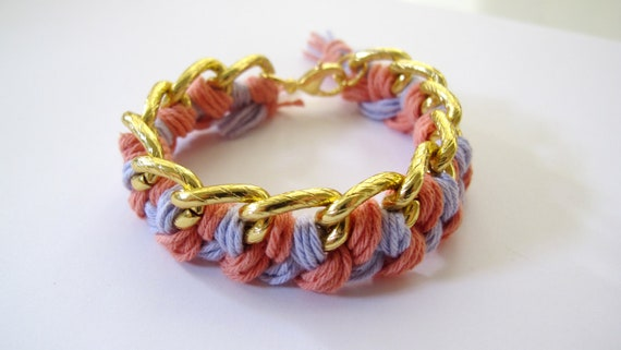Woven Chain Bracelet Pink and Purple