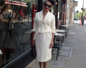 Original 1940s Spring Cream  Peplum Suit with Diamante Details Wedding 10