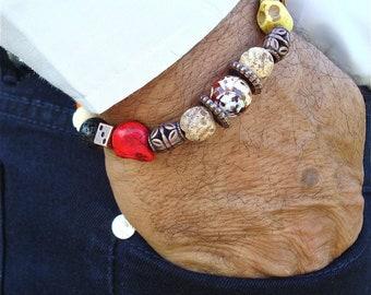 Men's Bracelet with Colorful Skulls Carved Howlite, Carved Stone,and Wood, Black Lava, Amber Fire Agate, Coper Cubes - Rocker Man Bracelet