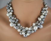 Gray, pewter and white bridesmaids chunky necklace- wedding jewelry,  statement necklace,  bridal party jewelry-6