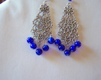 Cobalt blue, chandelier earrings, handmade, pewter, a Bali style, fun, funky, handcrafted just for you