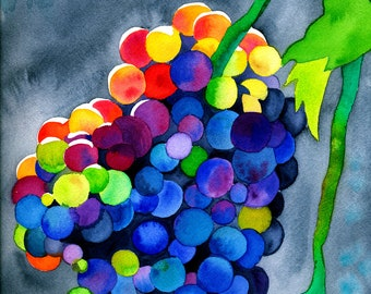 Dionysian Dance (Colorful Psychedelic Rainbow Watercolor Grape Dionysian Fruit Painting)