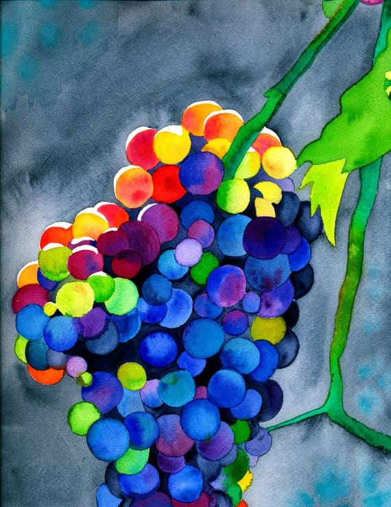 Dionysian Dance Colorful Psychedelic Rainbow Watercolor Grape