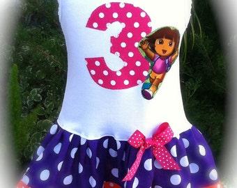 Girls Custom Boutique Dress Dora Birthday Dress Girls Dresses Baby Dresses Birthday Dress Available in 0-3 months through Size 6/8