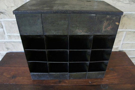 Vintage Industrial Metal Storage Bins Organizer Craft Office Supplies