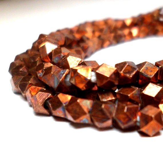 Copper Spacers - Faceted Metal Beads 3.5mm (20)