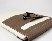 Wool Felt Tablet Computer Sleeve - Magnetic Closure with Headset Pocket