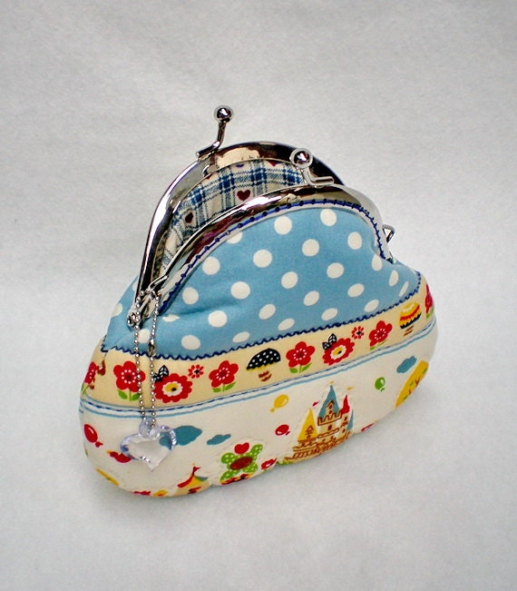 Lovely Castle In Blue Sky Quilted Purse