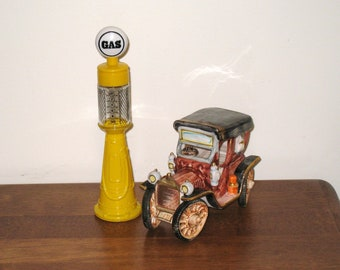 "Andrea by Sadek Rickety Car and AVON Yellow ""Remember When"" Vintage Gas Pump Decanter"