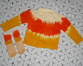 Tie dye shirts, 18 month or 24 month (you choose the size), long sleeve turtle neck, CANDY CORN - Instant Halloween Costume