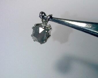 Cushion Checker board cut Opaque Gray Diamond pendant