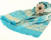 ON SALE Cotton Shawl / Scarf Teal Blue with Grey Felt Shawl Pin