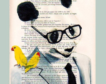 Panda with 2 Birds -Original Illustration-Art Print-Art Poster- Hand Painting Mixed Media-French 1920 Vintage Paper Dandy Google