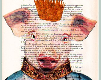 King Piggy- ORIGINAL ARTWORK Hand Painted Mixed Media on 1920 Parisien Magazine 'La Petit Illustration' by Coco De Paris