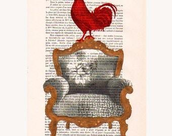 Red rooster on golden sofa - Original Illustration-Art Print-Art Poster-Hand Painting Mixed Media-Kids wall art-kids art decor-Gold