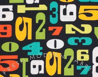 Half Yard Modern Numbers in Citrus, Robin Zingone, Robert Kaufman Fabrics, 100% Cotton Fabric