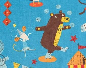 Fat Quarter Big Top in Blue, Circus by Nancy Wolff for Kokka Fabrics, Cotton/Linen Blend Fabric