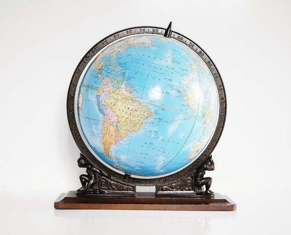 Vintage Cram's World Globe - Atlas with the World on his Shoulders