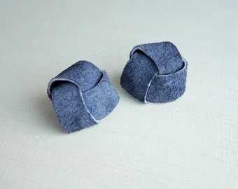 Midnight blue earrings suede genuine leather swirl nautical knot