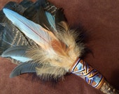 Smudge Fan- Light in the Darkness- Sacred Prayer Fan with Blue Kyanite - Made to Order
