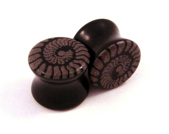 "Ammonite Black Glass Plugs - PAIR - 0g (8mm) 00g (10mm) 7/16"" (11mm) 1/2"" (13mm) 9/16"" (14mm)  3/4"" (19mm) Ear Gauges"