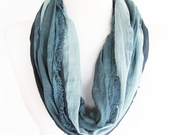 Gray - Navy Cotton Scarf, Long Scarf, Unisex Scarf, For Gift