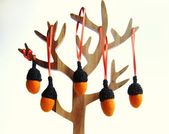 Fall decor felt orange Acorns with glitter black caps. Woodland home decor.