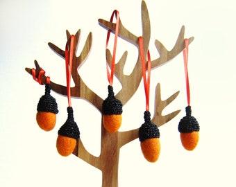 Decor felt orange Acorns with glitter black caps. Woodland home decor.