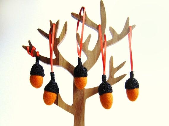 Fall decor felt orange Acorns with glitter black caps. Woodland home decor.