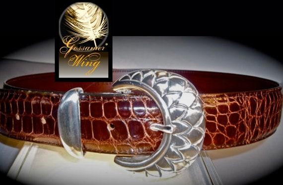 Sterling SILVER BELT BUCKLE Designer Hand Carved 4