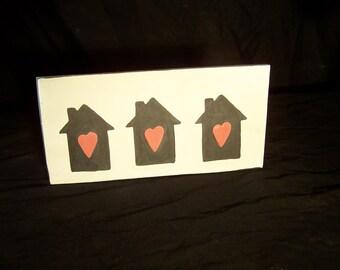 Three Black Houses Full Of Love Ceramic Art Tile Pottery Made in OHIO USA