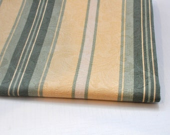 Vintage Fabric - Jacquard - Soft Green Stripes - Drapery - Creamy yellow - Cotton