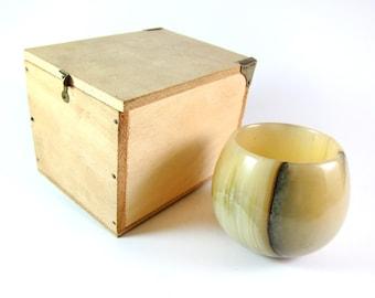 Vintage ORIGINAL Rare Carl Aubock Big Modernist Natural Stone Carved Cup and Original Wooden Box