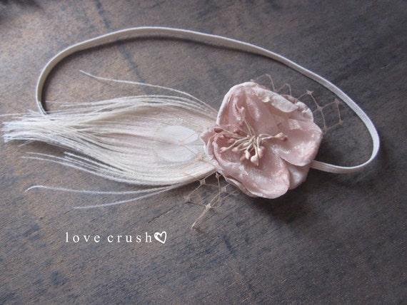 Blush Whisper... blush silk wild blossom ivory peacock feather russian veiling skinny headband (newborn-adult) photo prop