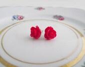 Red Rose Earrings - Nickel Free