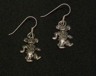 Grateful Dead Dancing Bear Earrings, Sterling Silver