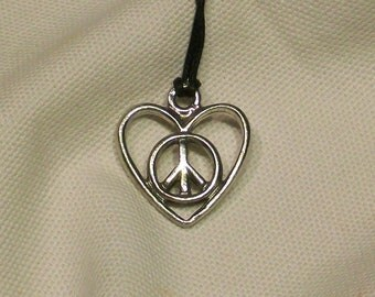 Peace Sign Heart Pendant for Jewelry