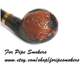 EXCLUSIVE Tobacco Smoking Pipes. Wooden Hand Carved Tobacco Smoking Pipe Lion #19 HANDMADE, Totally Unique Design, Only ONE Pipe Exists!