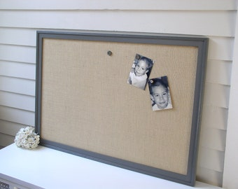 MAGNETIC BULLETIN BOARD - Charcoal Gray Framed Burlap Fabric Memo Board - Deluxe Size 26.5 x 38.5 Handmade Frame and Vintage Button Magnets