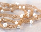 Freshwater Pearls Wire Necklace - Hand-knitted from Gold-toned Stainless Steel Wire with Natural White Freshwater Pearl Accents - Bridal