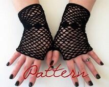 PDF Crochet Pattern Fishnet Fingerless Gloves With Diamonds Thread Crochet Pattern