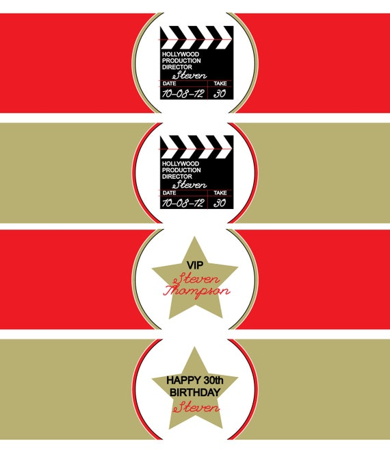 Hollywood Party- water bottle wrapper- print your own