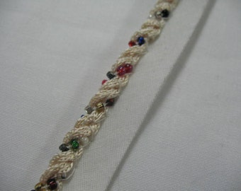 White and  Multi Color BEADS Pillow Trim Piping Cord Gimp