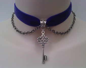 KEY & CHAIN Velvet PURPLE Ribbon Choker  - sm... or choose another colour velvet from a wide choice