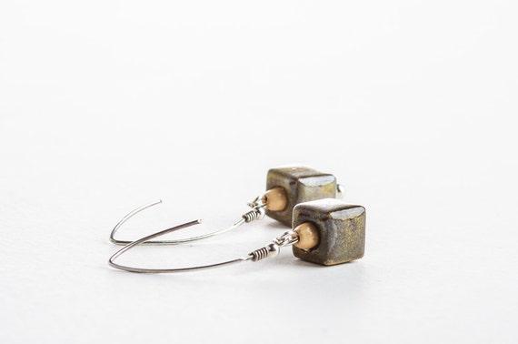 Brown Autumn Earrings, Dangle Earrings, Ceramic Earrings, Ceramic Jewelry, Square Earrings, Sterling Silver Earrings, Autumn Jewelry Fashion