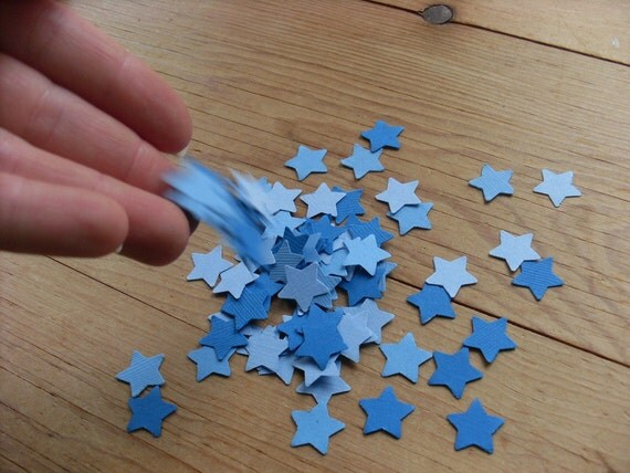 Confetti, 100 Blue Paper Stars, Double Sided Card Stock. Table Scatter, Party Decor, Stars, Scatter, Shades of Blue, Baby Boy, Baby Shower.