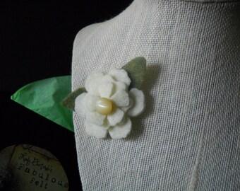 Cream Felt Flower Pin