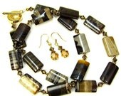 Brown Jasper Gemstone Necklace Combo Light Colorado Topaz Swarovski Crystal Necklace and Earrings